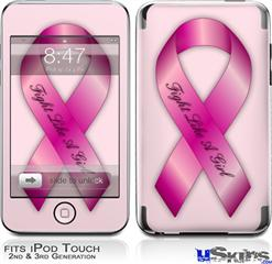 iPod Touch 2G & 3G Skin - Fight Like a Girl Breast Cancer Pink Ribbon on Pink