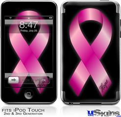 iPod Touch 2G & 3G Skin - Hope Breast Cancer Pink Ribbon on Black