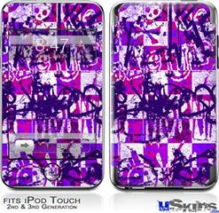 iPod Touch 2G & 3G Skin - Purple Checker Graffiti