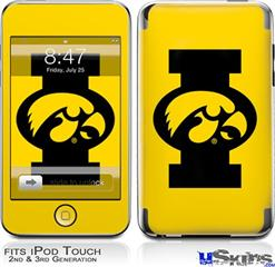 iPod Touch 2G & 3G Skin - Iowa Hawkeyes Tigerhawk Oval 02 Black on Gold