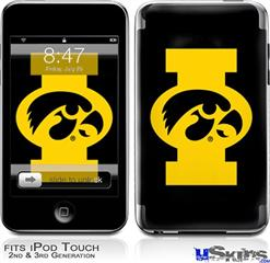 iPod Touch 2G & 3G Skin - Iowa Hawkeyes Tigerhawk Oval 02 Gold on Black
