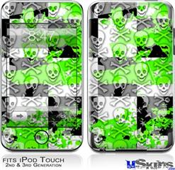 iPod Touch 2G & 3G Skin - Checker Skull Splatter Green