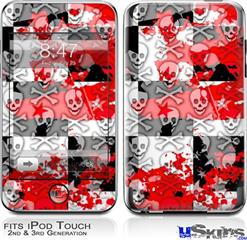 iPod Touch 2G & 3G Skin - Checker Skull Splatter Red