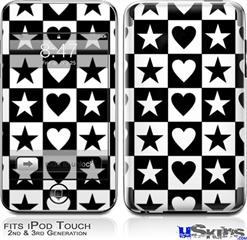 iPod Touch 2G & 3G Skin - Hearts And Stars Black and White