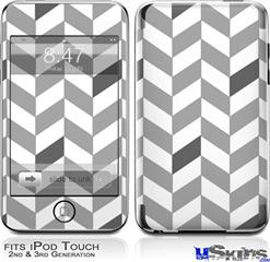 iPod Touch 2G & 3G Skin - Chevrons Gray And Charcoal