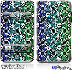 iPod Touch 2G & 3G Skin - Splatter Girly Skull Rainbow