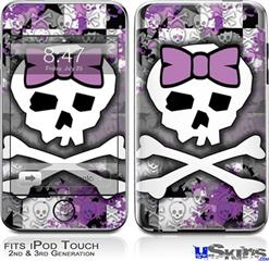 iPod Touch 2G & 3G Skin - Princess Skull Purple