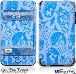 iPod Touch 2G & 3G Skin - Skull Sketches Blue