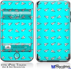 iPod Touch 2G & 3G Skin - Paper Planes Neon Teal