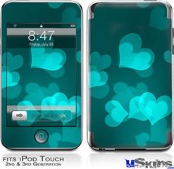 iPod Touch 2G & 3G Skin - Bokeh Hearts Neon Teal