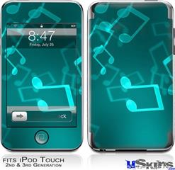iPod Touch 2G & 3G Skin - Bokeh Music Neon Teal