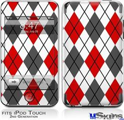 iPod Touch 2G & 3G Skin - Argyle Red and Gray