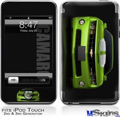 iPod Touch 2G & 3G Skin - 2010 Chevy Camaro Green - White Stripes