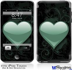 iPod Touch 2G & 3G Skin - Glass Heart Seafoam Green
